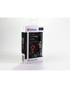 สายชาร์จ Lightning (1.2m, สีดำ) รุ่น STEELFLEX 65322
