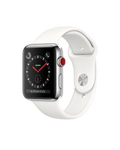 Apple Watch Series 3 GPS+CELLULAR (38mm, Stainless Steel Case, Sport Band, Soft White) -1